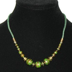 """Gold and green rope necklace 18"""" Vintage"""